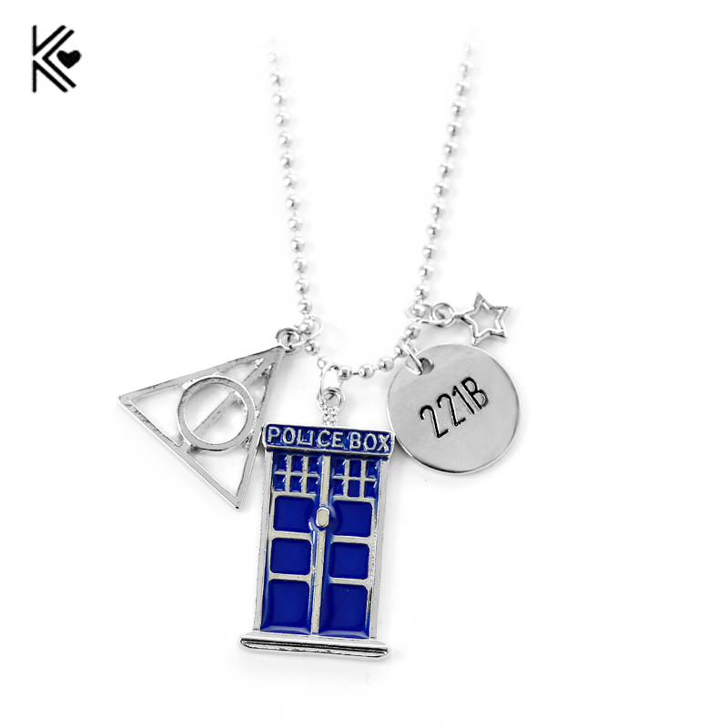 2017 Hot New Style Movie Jewelry Doctor Who 221B Necklace Police Box Pendant For Women&Men With Blue Enamel Fashion Accessories