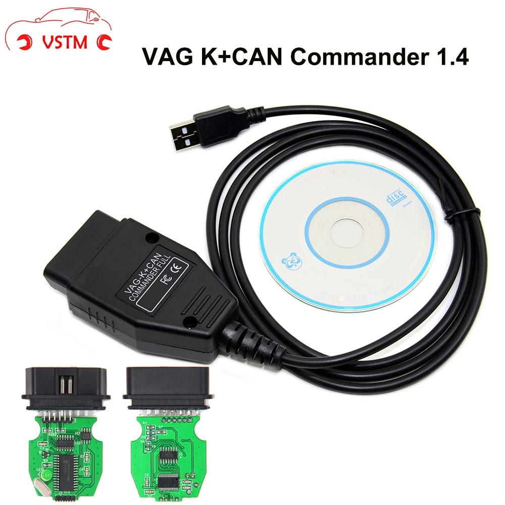 VAG K + CAN Commander 1.4 com FTDI VSTM FT232RL PIC18F258 Chip OBD2 Interface de Diagnóstico Com Cabo