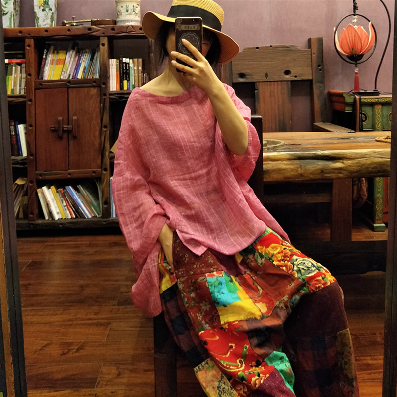 Johnature 2019 Summer New O Neck Bat Sleeve Women T Shirts Linen Loose Solid Color Plus