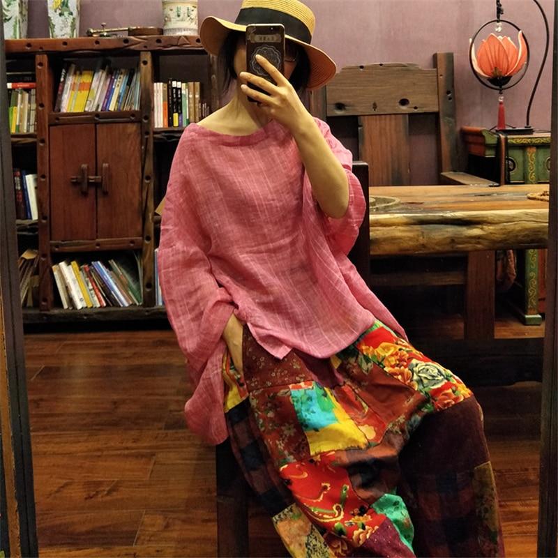 Johnature 2019 Summer New O Neck Bat Sleeve Women T Shirts Linen Loose Solid Color Plus Size Women Cloths Vintage T Shirts-in T-Shirts from Women's Clothing    1
