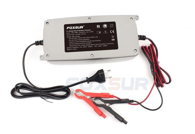 FOXSUR 12В 24В автомобильное зарядное устройство с ЖК-дисплеем, 11-ступенчатое умное зарядное устройство, Грузовик водонепроницаемый свинцово-ки...