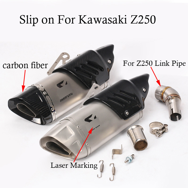 Full Motorcycle Exhaust System Muffler Modification With Connection Link Pipe A/K Laser Marking Slip On For Kawasaki Z250