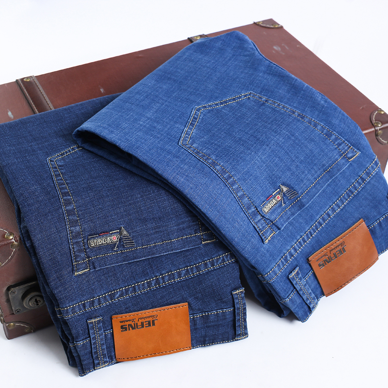 2019 Spring Summer Summer Thin Light  Jeans Fashion Men Casual Slim Straight Men Big Size 28-40 42 44 46