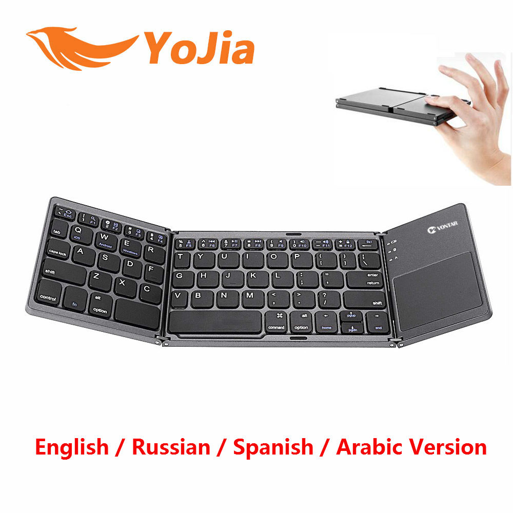 Portable Foldable Wireless Bluetooth Keyboard B033 English Russian Folding BT Rechargeable Touchpad For IOS/Android/Windows Ipad