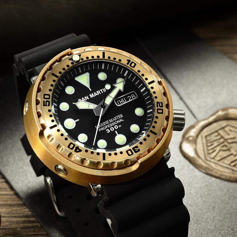 San Martin Homens Relógio Automático Moda Bronze SBBN015 mergulho Relógios Bronze MOV'T NH36 armadura 300m Resistente À Água relógio de Pulso