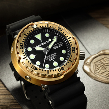 San martin sbbn015 men relógio automático moda bronze mergulho relógios armadura bronze 300m resistente à água nh36 movt t relógio de pulso