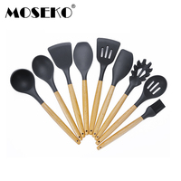 MOSEKO 9 pcs Silicone Spatula Heat resistant Soup Spoon Shovel Non stick Cooking Utensils Baking Tool Cooking Tool Sets