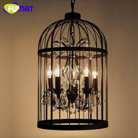 Loft Vintage Industrial Hanglamp Fixtures American Style Crystal Birdcage Pendant Light For Dinning Room Lamp Retro