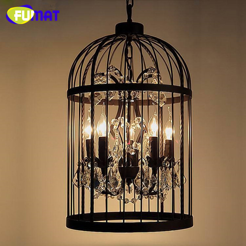 Loft Vintage Industrial Hanglamp Fixtures American Style Crystal Birdcage Pendant Light For Dinning Room Lamp Retro Iron Light iwhd american style wood vintage pendant light fixtures iron retro loft industrial hanging lamp led living room hanglamp lustre