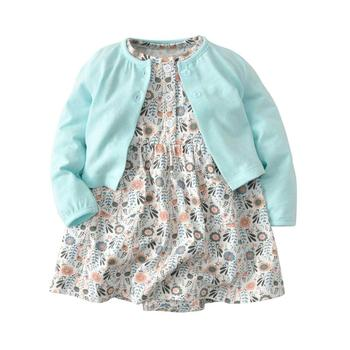 Baby Girl Bodysuit Dress Cute Soft Cotton Long-Sleeved Cardigan +Short SLeeve Dress 2 Pieces Infant Toddler Girls Clothes Set 1