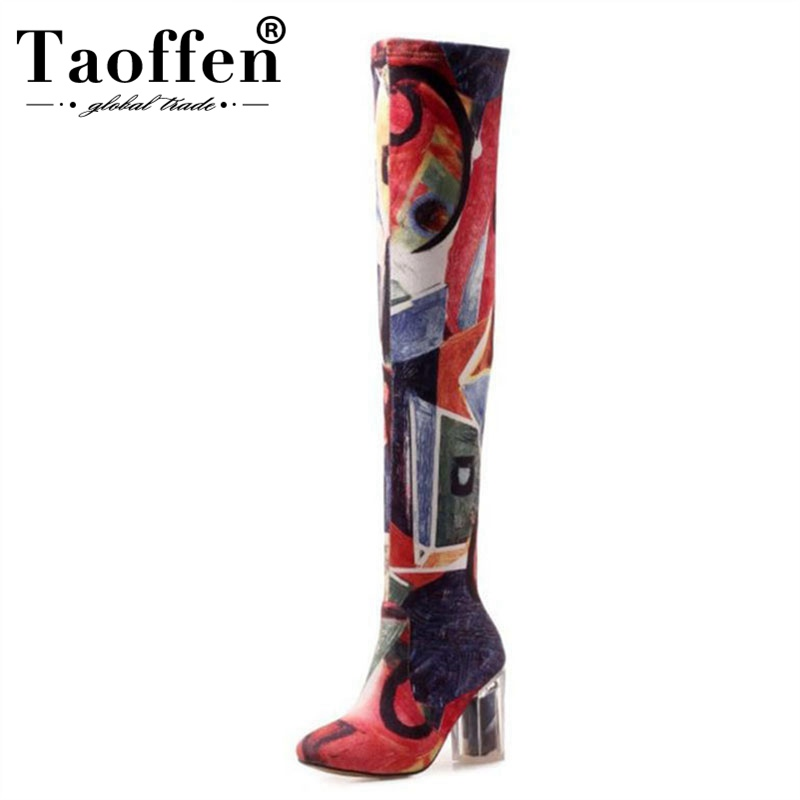 Taoffen New Fashion High Quality Over The Knee Boots Colorful High Heels Autumn Winter Thigh High Boots Sexy Shoes Size 34-43Taoffen New Fashion High Quality Over The Knee Boots Colorful High Heels Autumn Winter Thigh High Boots Sexy Shoes Size 34-43