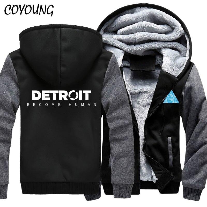 COYOUNG Brand US Size MEN Hoodies Print Detroit: Become Human Zipper Sweatshirts Winter Hoodies Thicken Jacket Coat Clothing