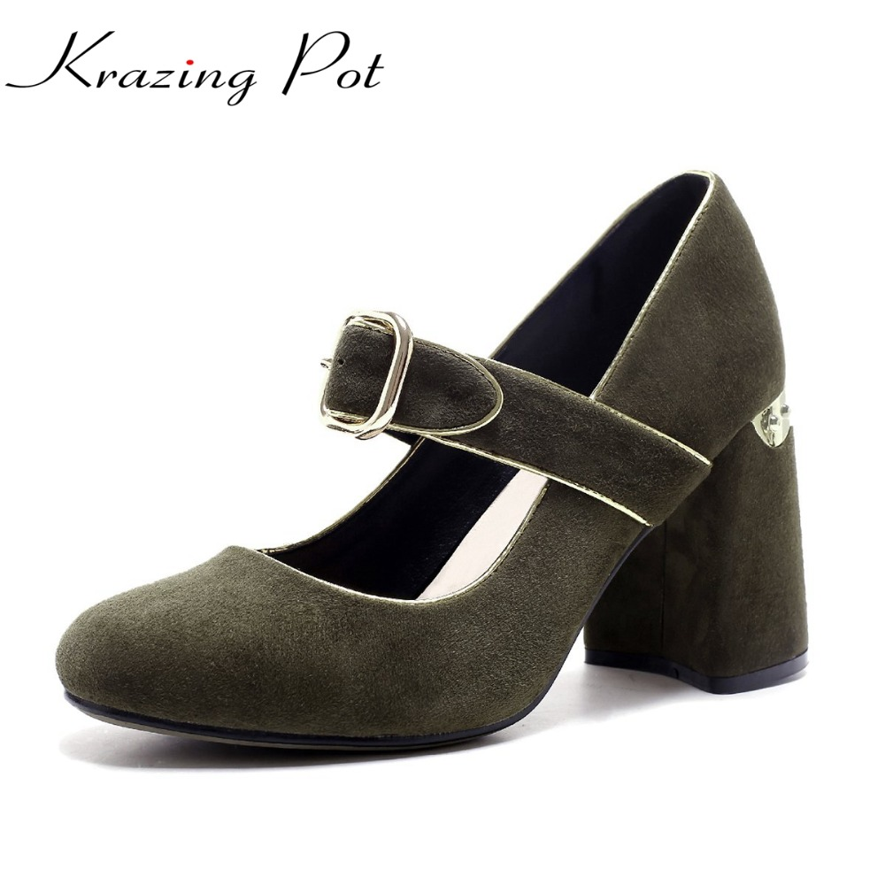 KRAZING POT  sheep suede brand shoes strange high heels women pumps round toe ankle buckle straps autumn sexy party shoes L74 krazing pot shallow sheep suede metal buckle thick high heels pointed toe pumps princess style solid office lady work shoes l05
