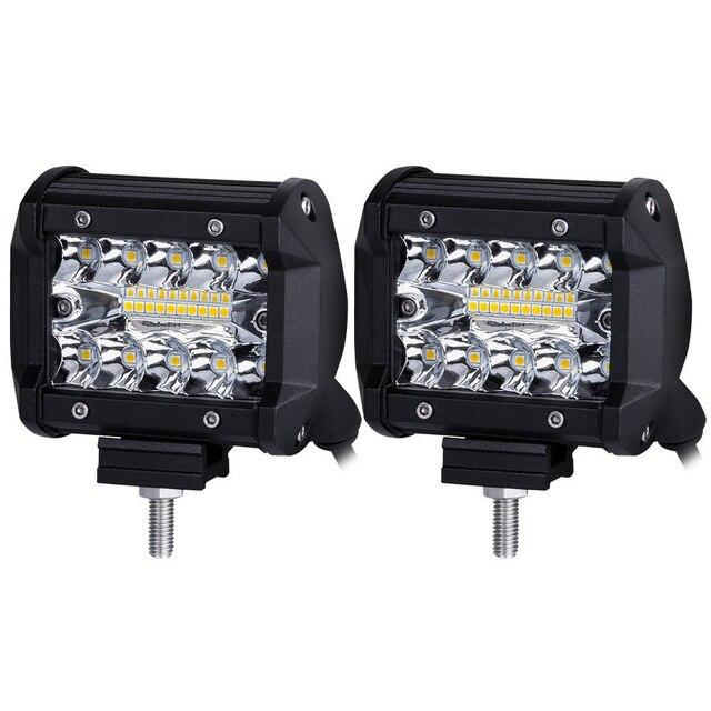 2 יחידות 4 inch LED בר LED עבודה אור בר לנהיגה Offroad סירת רכב טרקטור משאית 4x4 SUV טרקטורונים 12 v 24 v מדורג 60 w
