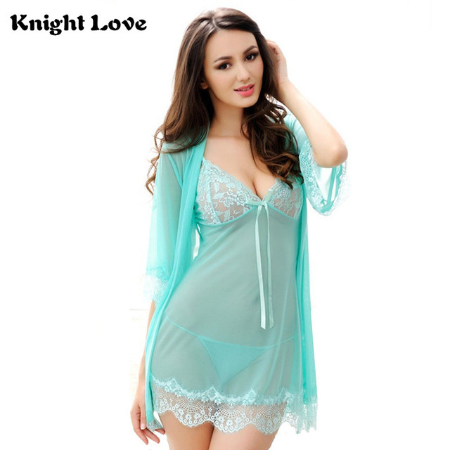 2af359f58 3 Piece Sets Sexy Lingerie Women Night Dress Underwear Ladies Lace Dress  V-Neck Solid Woman Nighty Chemise Nightgown Sleepwear