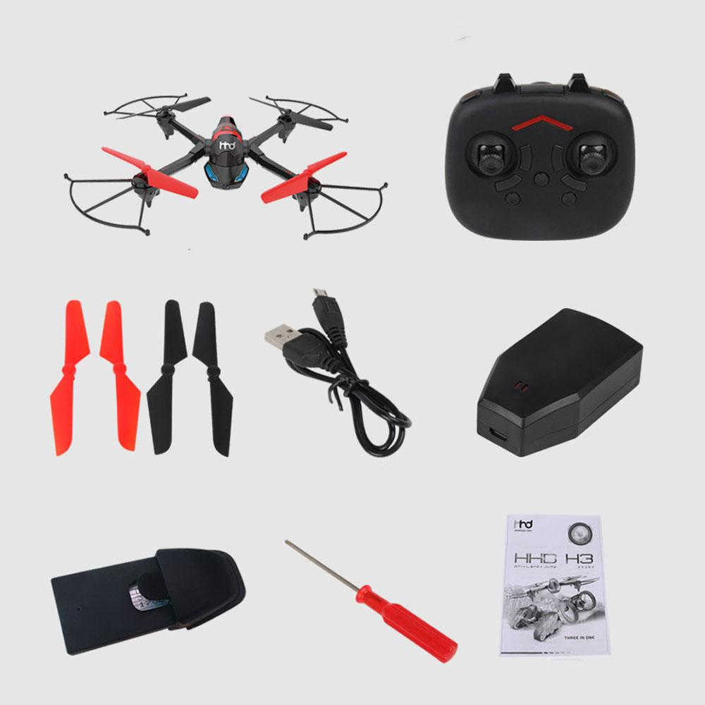 Funny 3 in 1 Tank Car Aircraft 3 in 1 Tank Car Drone 3 in 1 Tank Car Quadcopter Beginning Ability 0.3 MP Stable Gimbal Black RC