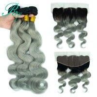 Riya Hair Brazilian Human Hair 1B/Grey Color Body Wave Hair 3 / 4 Remy Weaving Human Hair With 13* 4 Lace Frontal Free Part