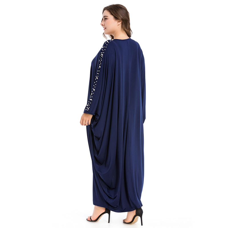 Arabe élégant lâche Abaya caftan mode islamique perles Robe musulmane conception de vêtements femmes manches chauve-souris dubaï Abaya Robe bleu marine - 6