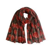 36a245840b448 100cm*180cm New Red Poppy Print Long Scarf Flower Beach Wrap Ladies Stole  Shawl Voile