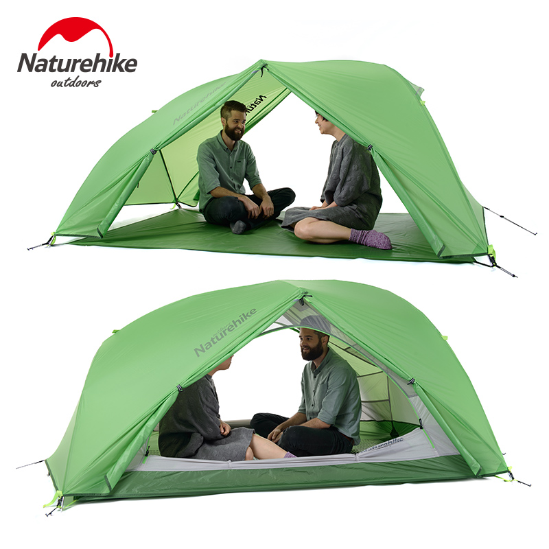 NatureHike Good Quality 20D Silicone Fabric Waterproof Double-Layer 2 Person 4 Season Aluminum Rod Outdoor Camping Tent naturehike 3 person camping tent 20d 210t fabric waterproof double layer one bedroom 3 season aluminum rod outdoor camp tent