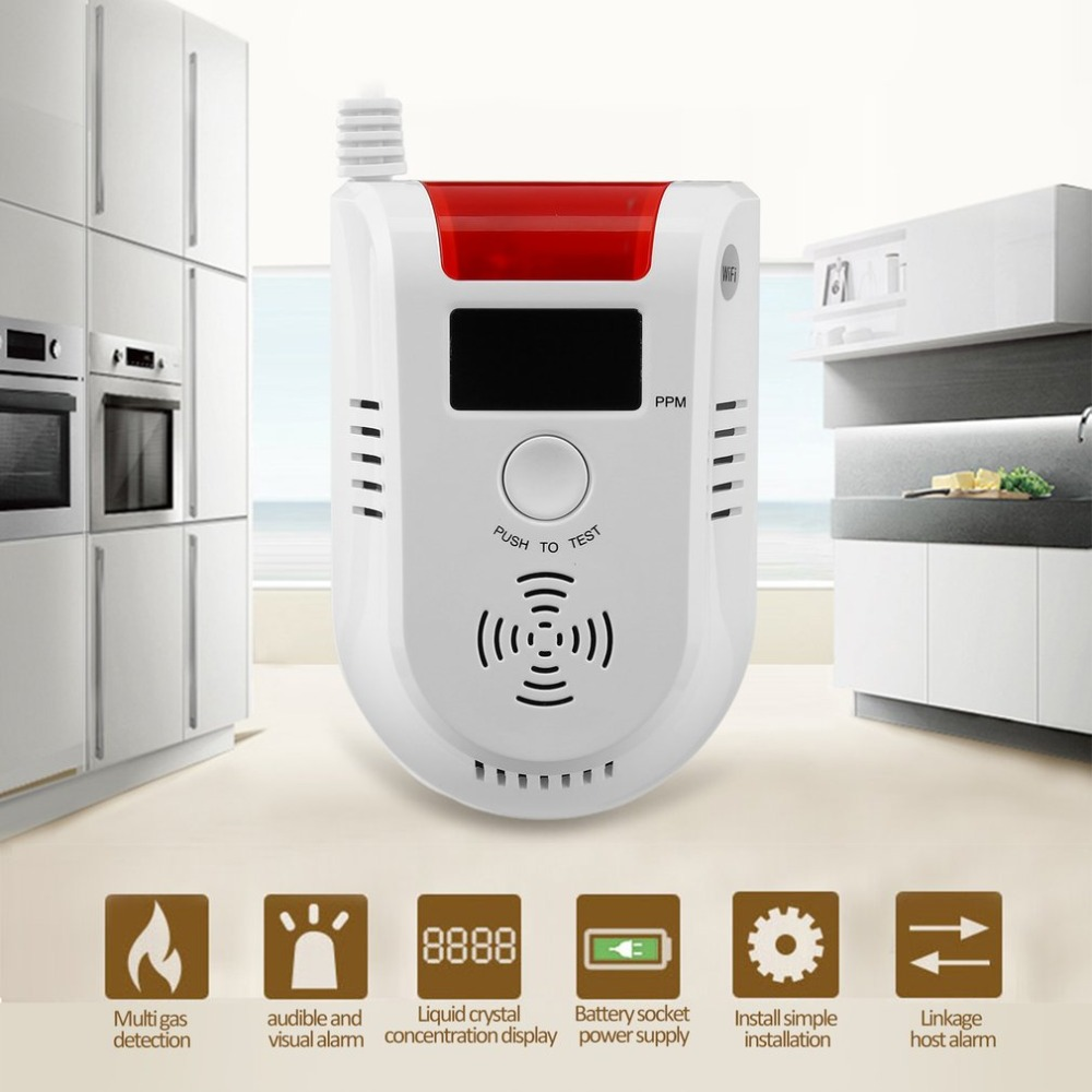 APP Voice Prompt WIFI Combustible Gas Leakage Detector Alarm System Display Screen Wireless Security Gas Sensor Alarm golden security lpg detector wireless digital led display combustible gas detector for home alarm system