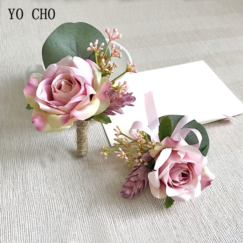 YO CHO Wedding Accessories Boutonnieres Pink Roses Silk Wrist Corsage Bracelet Wedding Boutonniere For Guests Marriage Corsages