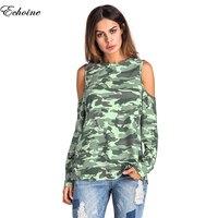 Echoine Femmel Sexy Off Shoulder Blouse Blusas Camouflage Women Top Long Sleeve Casual Blouse Shirts Camisa