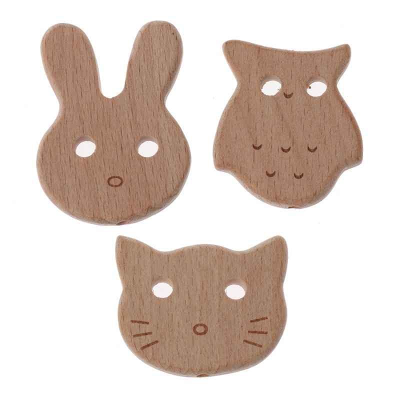 Sowa drewno bukowe gryzak koraliki ząbkowanie dla dziecka naszyjnik/bransoletka DIY zabawka