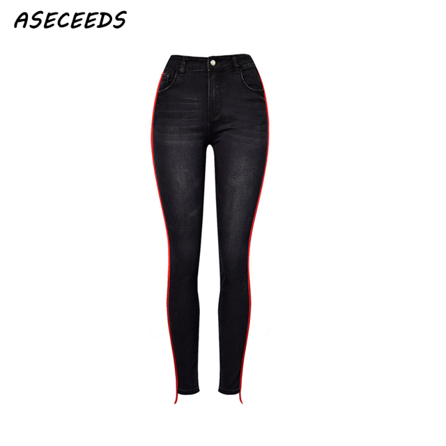 feafe7f42c6c 2018 jeans Red striped high waist jeans woman Sexy black stretch skinny  jeans women Street fashion Denim pencil pants mom jeans