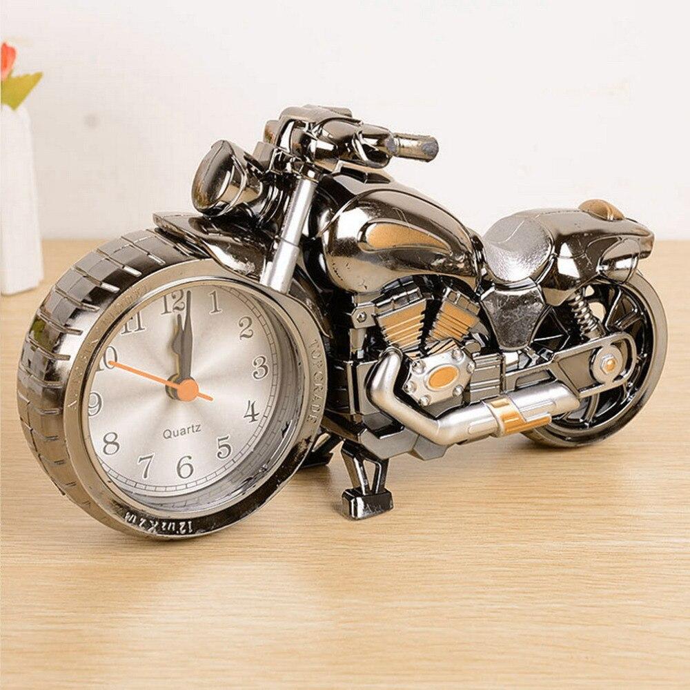 Creative Quality Motorcycle Clock Motorbike Pattern Alarm Desk Clocks Vintage Desktop Watches Xmas Christmas Festival Decor Gift