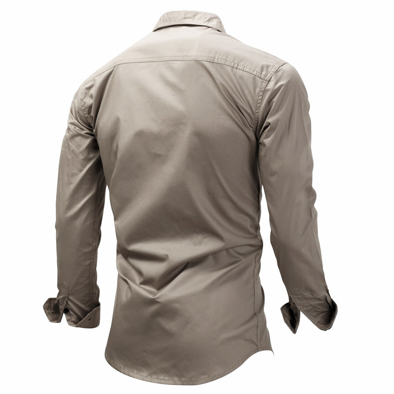 Fredd Marshall Fashion Men's Shirts Cotton Solid Color Long Sleeve Male Shirt with Zipper Pockets Camisa Masculina Plus Size (2)