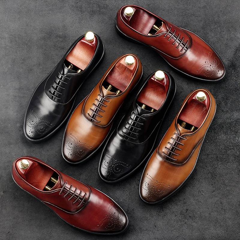 Vintage Round Toe Carved Man Dress Shoes Genuine Leather Carved Brogue Oxfords Male Luxury Brand Formal Men's Fashion Flats AC20 цены онлайн