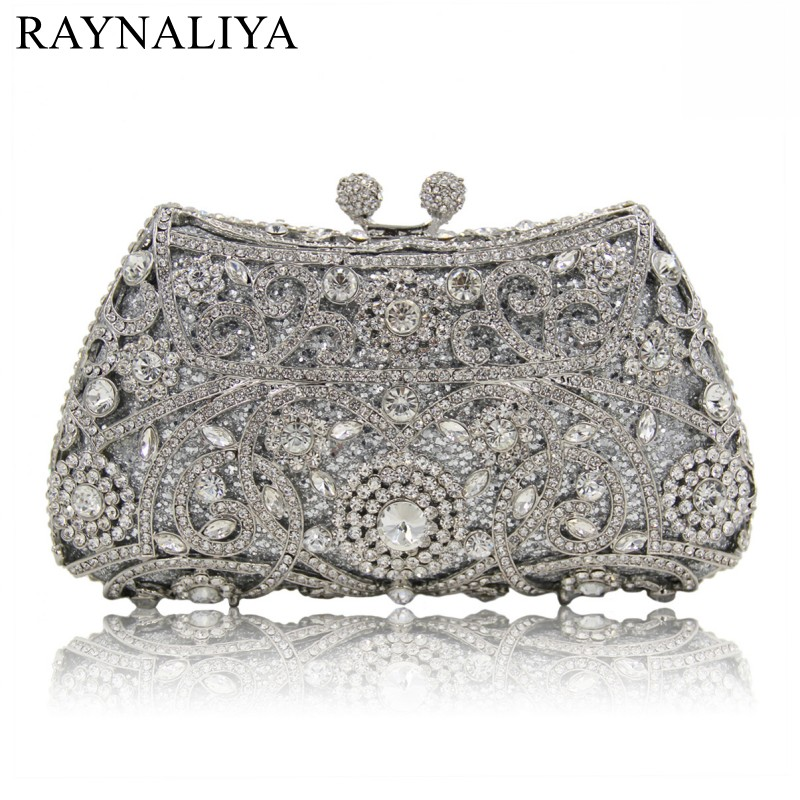 Fashion Evening Bags Rhinestones Clutch Handbags Crystal Wedding Party Bag Drak Gold Silver Color Purse Women Smyzh-e0272