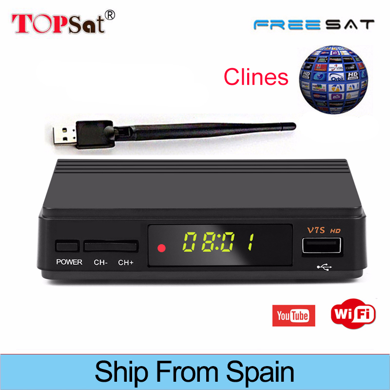 Freesat V7 HD Upgraded version V7S Receptor DVB S2 FTA Satellite TV Receiver+USB WIFI+Europe Cline for 1 Year Spain Decoder