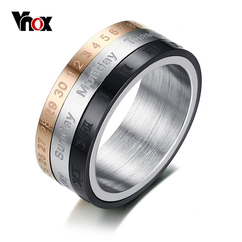 Vnox Rotatable 3 Part Roman Numerals Ring Men Jewelry Stainless Steel Cool Punk Spinner Male Bijoux Band with Date Time Calendar