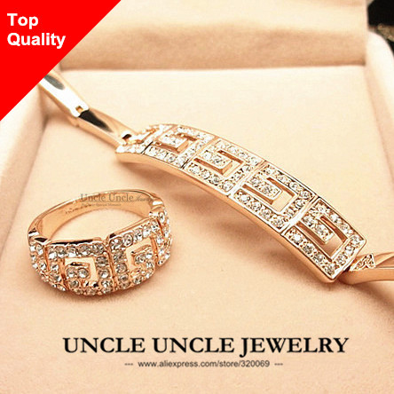 Brand Design Rose Gold Plated Rome Style Austrian Crystal G Design Wedding Woman Jewelry Sets Bracelet / Ring Wholesale