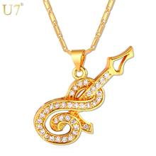 U7 Luxury Guitar Pendant Necklace Women Musical Jewelry New Trendy Gold/Silver Color Zirconia Music Necklace P675(China)