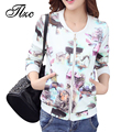 TLZC New Floral Printed Lady Thin Coats Plus Size M-4XL Autumn Vintage Sweet Women Bomber Jackets Holiday Clothing