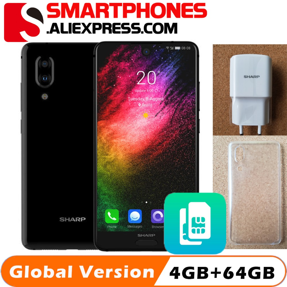SHARP AQUOS C10 S2 mobile phones Android 8.0 4GB+64GB 5.5'' FHD+ Snapdragon 630 Octa Core Face ID NFC 12MP 2700mAh 4G SmartPhone-in Cellphones from Cellphones & Telecommunications    1