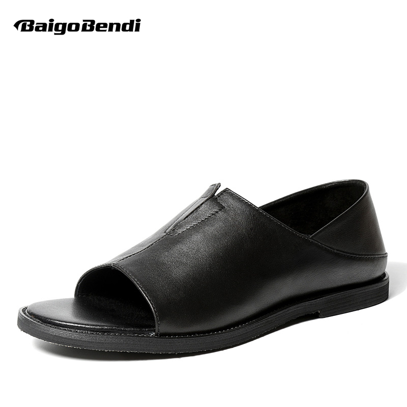 Classical Ankle Strap Genuine Leather Men Rome Sandals Business Man Black Gladiator Summer Beach Shoes