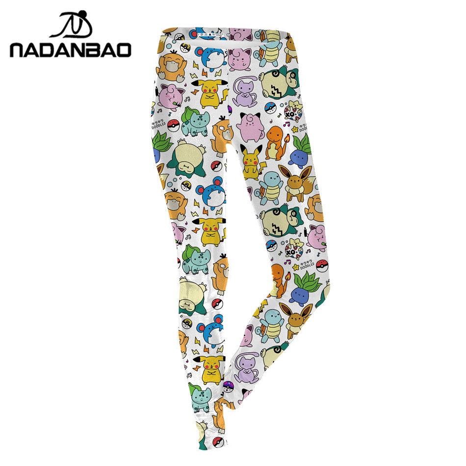 NADANBAO Summer Autumn   Leggings   Cartoon Pokemon GO Pikachu Print Women   Legging   Sexy Leggins Woman High Waist Legins Pants