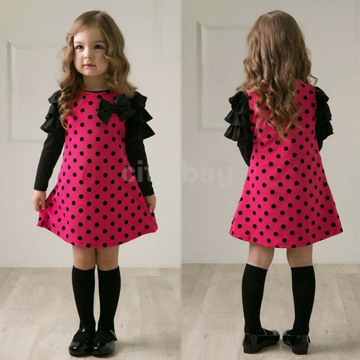 New Winter Baby Girl Kids Child Long Sleeve Dots Bowknot -6091