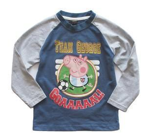 Free shipping! Peppa Pig George Pig boy boys' long sleeved football design blue and grey T shirt top tee LAST 10 Pieces only