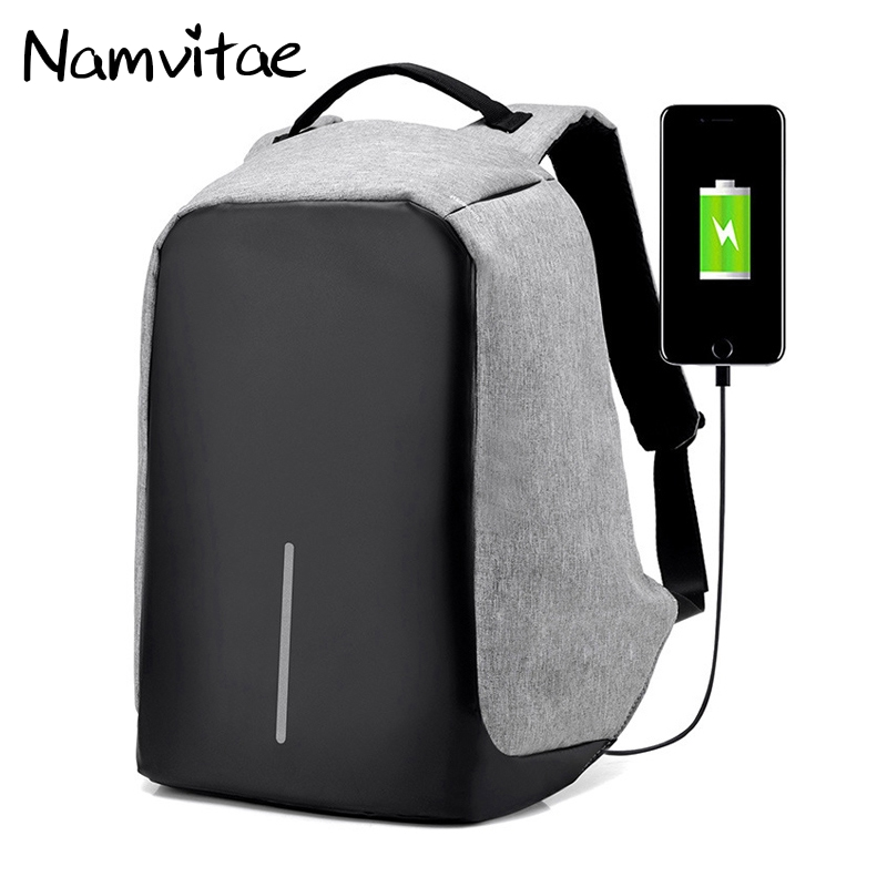 Namvitae USB Charge Anti Theft Bobby Backpack Men Security Waterproof Travel School Bags 15inch Laptop Backpacks Dropshipping 14 15 15 6 inch flax linen laptop notebook backpack bags case school backpack for travel shopping climbing men women
