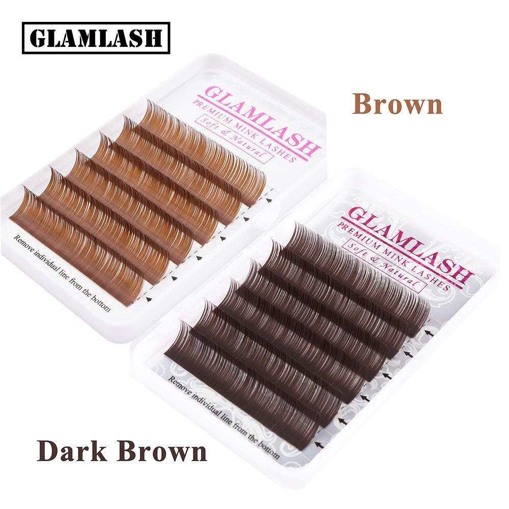 GLAMLASH Premium Natural Brown Dark Brown Color Eyelash Extension Individual Faux Mink Soft Fake False Lashes Makeup Cilios