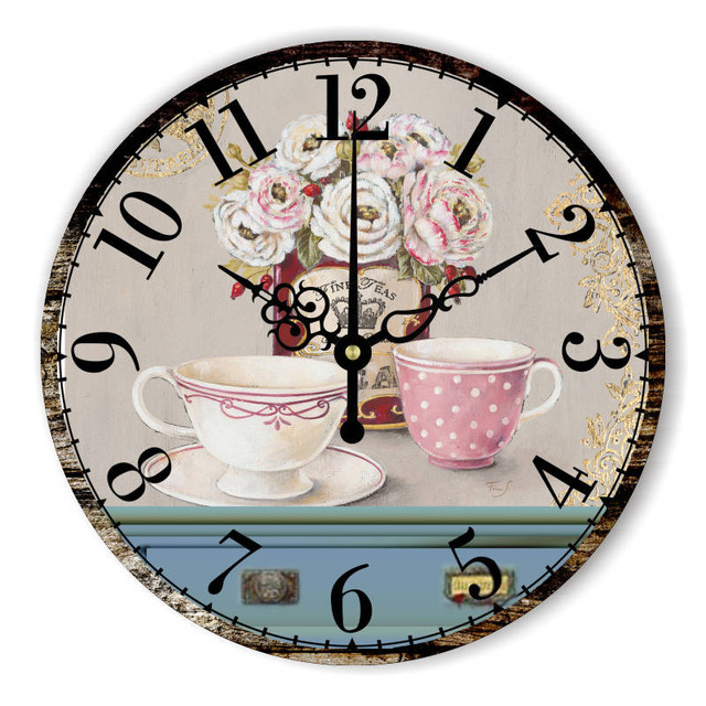 2018 Vintage Large Home Decorative Wall Clock Kitchen Coffee Tea Wall Clock  Modern Design Red Rose