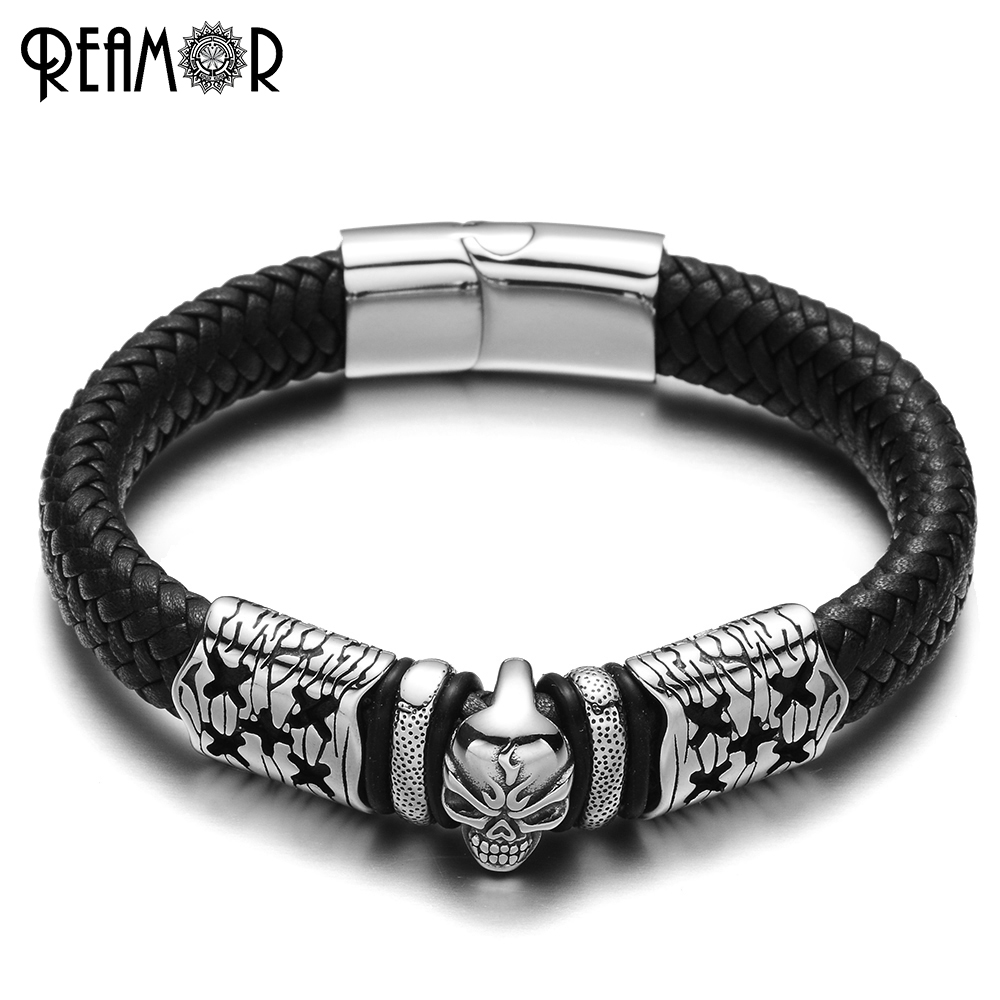 REAMOR 316L Stainless Steel Bracelets Crack & Anger Skull Head Charms Bracelet Wide Braided Leather Rope Bangles Mens Jewelry