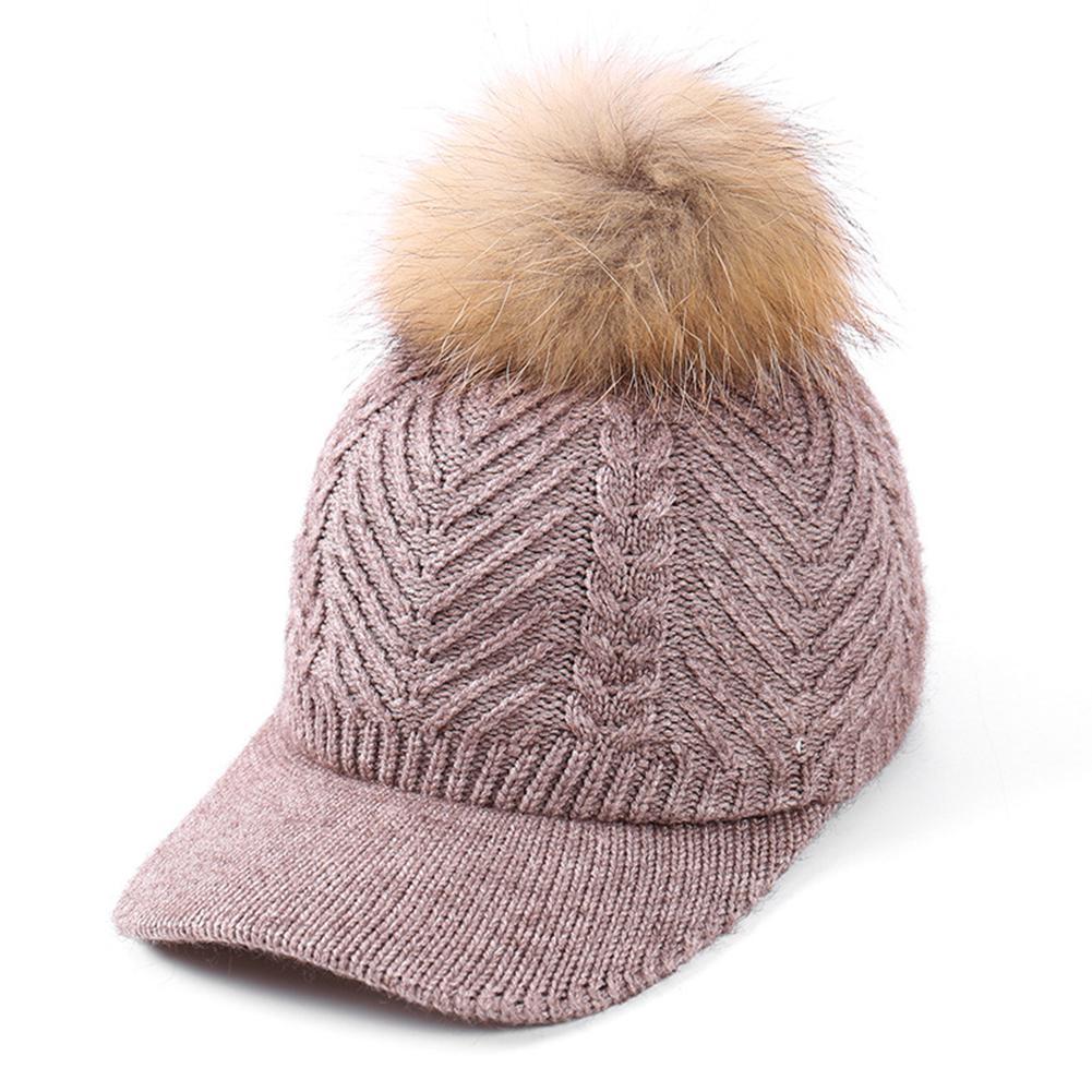 Missky Frauen Gestrickte Erreichte Hut Mit Nerz Haar Ball Modische Einstellbare Winter Warme Baseball Hut
