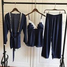 Frauen Pyjamas Sets Satin Nachtwäsche Damen 3 Stück Seide Schlaf Lounge Pijama Hause Kleidung Pyjama mit Brust Pads