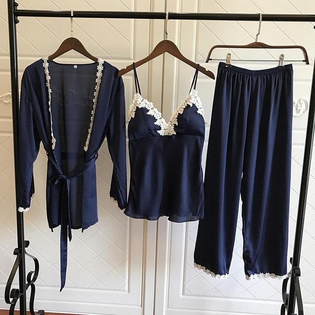Women Pajamas Sets Satin Sleepwear Ladies 3 Pieces Silk Sleep Lounge Pijama Home Clothing Pyjama with Chest Pads